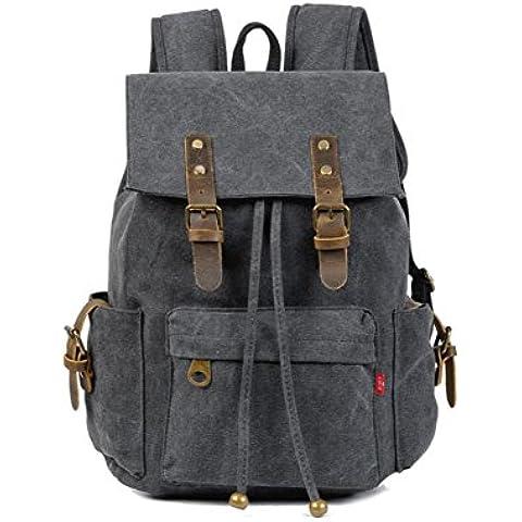 vootul Vintage Casual in tela e pelle zaino Bookbag Satchel escursionismo borsa borsa da viaggio, Black