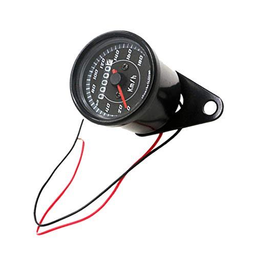 non-brand MagiDeal 1 Stück LED Nachtlicht Tachoanzeige Motorrad Speedometer Gauge Dual LED Hintergrundbeleuchtung - Schwarz -