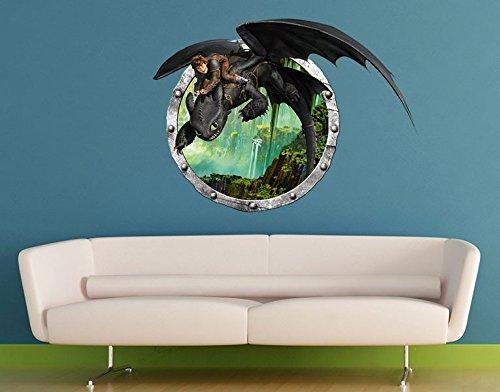 Preisvergleich Produktbild Wandtattoo Dragons Hicks und Ohnezahns Abenteuer B x H: 60cm x 45cm von Klebefieber®