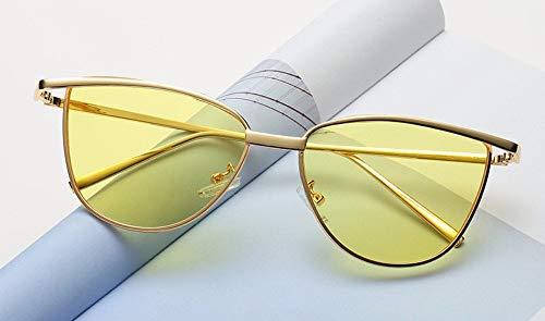 WSKPE Sonnenbrille Cat Eye Rote Sonnenbrille Damen Schattierungen Getönte Farbe Objektiv Damenbrillen-Etui Gelbe Sonnenbrille Uv400 Gelbe Linse