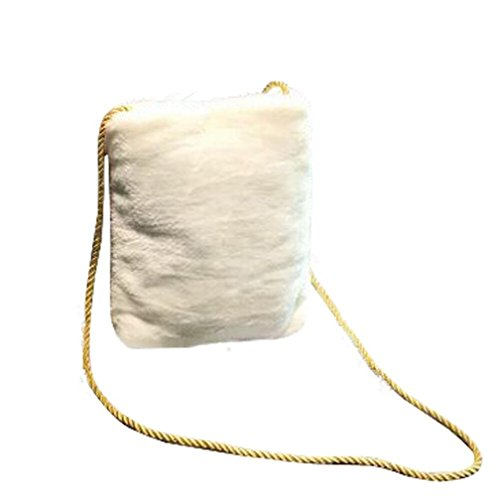 BZLine® Frauen Messenger Schulter Telefonmünze Plüsch Taschen Gift Bag Weiß
