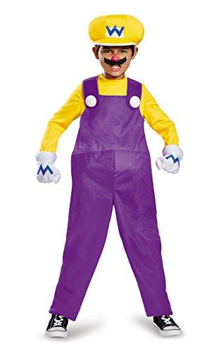 Super Mario Bros Nintendo Wario Deluxe Costume Child Small 4-6 (Super Mario Child Deluxe Kostüm)