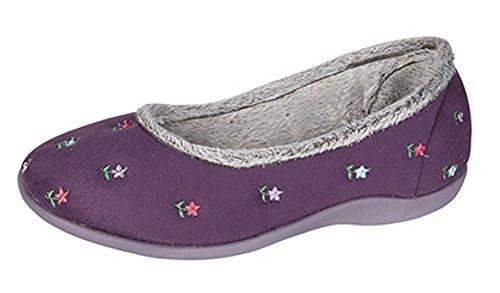 Donna Angelo floreale Ballerina Slipper Purple