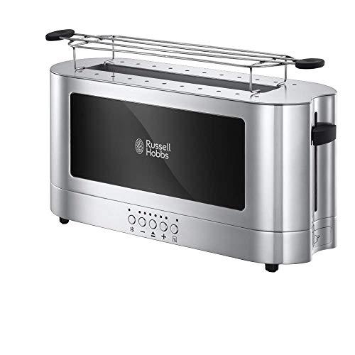 Russell Hobbs Toaster Langschlitz Elegance Glas/Edelstahl, inkl. Brötchenaufsatz, 6 elektronisch einstellbare Bräunungsstufen + Auftau- & Aufwärmfunktion, Schnell-Toast-Technologie, 1420W, 23380-56