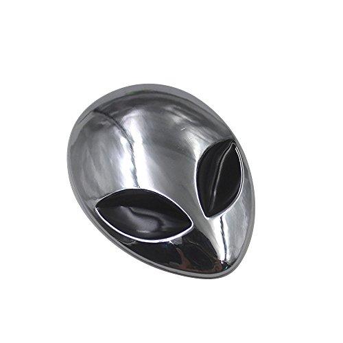 MagiDeal Auto Motorrad Metall Aufkleber 3D Metall Sticker Alien Kopf Form Silber
