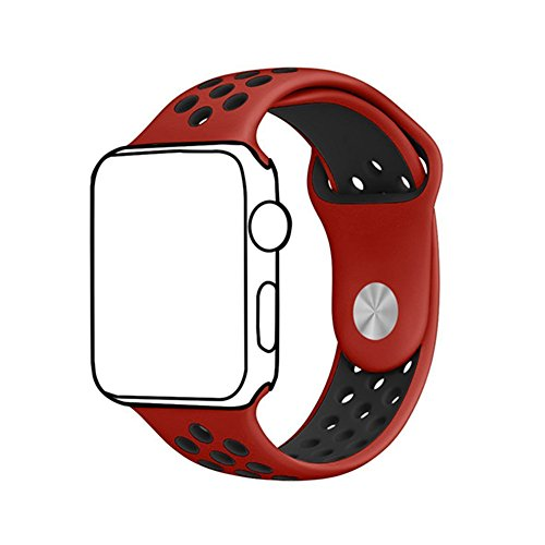 Ontube para Apple watch Correa Nike + Serie 1 Serie 2, Soft Silicona Estilo Deportivo Reemplazo para iWatch Correa M/L 42mm Rojo/Negro