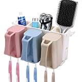 Clothsfab Cf Plastic Automatic Hands Free Toothpaste Dispenser and 5 Toothbrush Holder for Home Bathroom, (Multicolour)