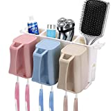 #6: Clothsfab Cf Plastic Automatic Hands Free Toothpaste Dispenser and 5 Toothbrush Holder for Home Bathroom, (Multicolour)