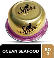 SHEBA Ocean Fish Seafood Domes Cat Food, Multipack, 24 x 80g