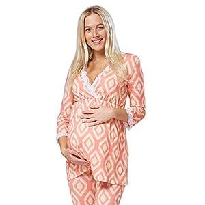 Zeta-Ville-Premam-CamisnBata-Pijama-Mezcla-Y-COMBINA-para-Mujer-591c-Coral-y-Amarillo-EU-44-2XL