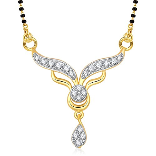 Amaal Mangalsutra Set Gold Pendant With Chain in American Diamond Jewellery For Women MS0813  available at amazon for Rs.152