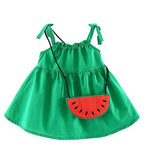 Amlaiworld Baby Gemütlich locker tanktop kleid säugling niedlich mode strand band oberteile dress sommer mädchen kleid mit Wassermelone Tasche, 0-24 Monate (18 Monate, Grün)