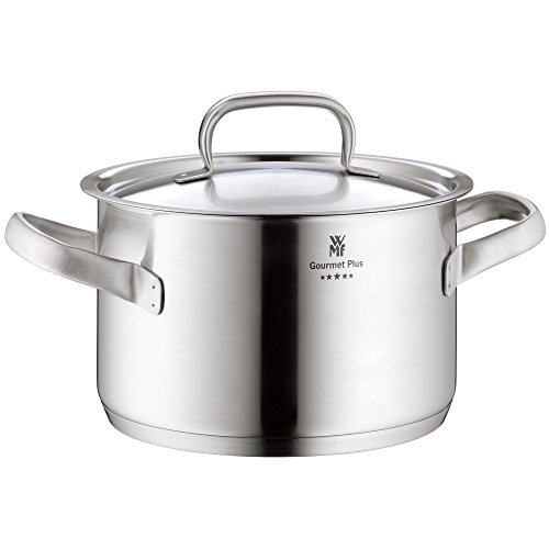 WMF cookware Ø 16 cm approx. 1,9l Gourmet Plus Inside scaling  vapor hole Made in Germany hollow side handles metal lid Cromargan stainless steel  suitable for all stove tops including induction dishwasher-safe