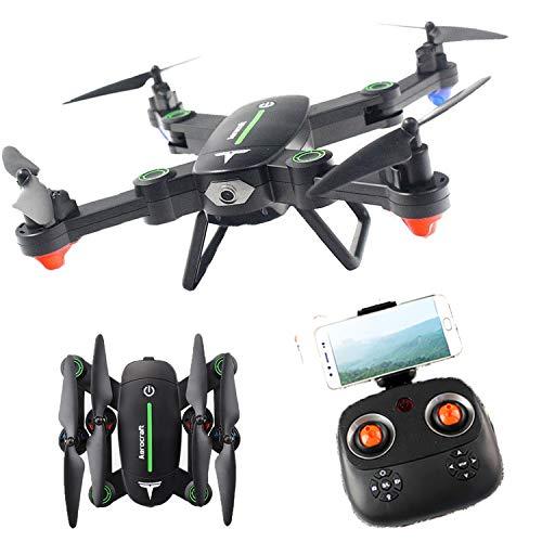 PowerLead F16W RC Quadcopter WiFi FPV Drohne faltbar mit Kamera HD 720p RTF 4 Kanäle 2,4 GHz 6-Gyro mit Höhenhaltefunktion, Kopfloser Modus und Schlüsselrückseite - Grün