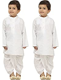 [Sponsored]FOCIL Holi Special Combo Of White Solid Dhoti Kurta Set For Kids (Pack Of 2)
