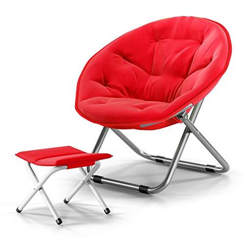 XIAOYAN Lazy Chair Klappstuhl mit Fußstütze Canvas Sitz für Kinder Jugend Erwachsene 2er Pack 4 Farben (Farbe : Red)