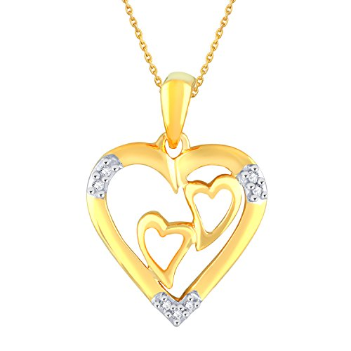 Silvernshine 1/8 Carat Diamond Two Hearts Within A Heart Pendant In 14K Yellow Gold Fn .925
