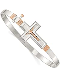 ICE CARATS 925 Sterling Silver 14kt Rose Accent Crucifix Cross Religious Hook Catch Bangle Bracelet Cuff Expandable Stackable Clasp Fine Jewelry Ideal Gifts For Women Gift Set From Heart