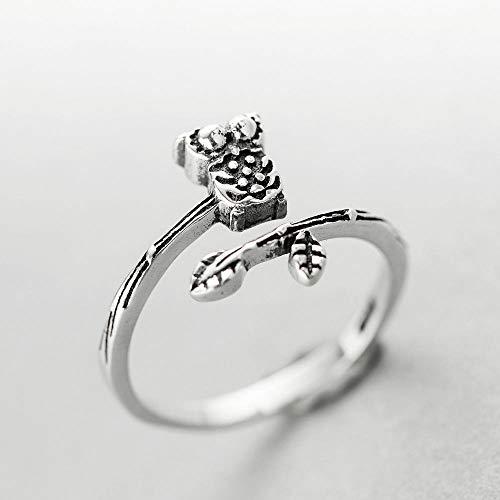 PRAK Damen 925 Sterling Silber Einzigartig Ringe,Olive Branch Niedlichen Ring Schmuck Vintage Verstellbare Ringe Für Frauen Weihnachten Geschenk Leuchtendes Geschenk Student Match School Style Olive-damen-ring