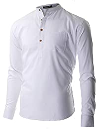 FLATSEVEN Chemise henley Casual Col Mao Homme Manche Longue