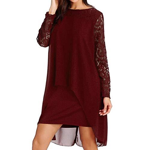 ❤❤ JiaMeng Locker Mode Mini Kleider Elegant Spitze Ärmel Sommerkleid Chiffon Reizend Asymmetrisch Abendkleider weich lässig Outdoor Kleid für mollige S-XXXXXL