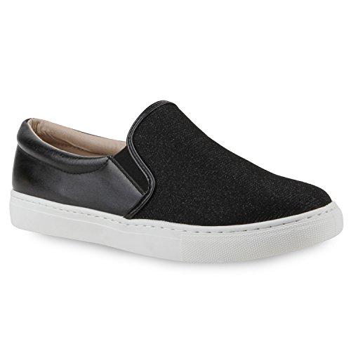 Damen Lack Sneakers Sneaker Low Slip-Ons PaillettenSlipper s Fransen Schleifen Nieten Flats Spitze Schuhe 113963 Schwarz 38 Flandell (Schuh Fransen)