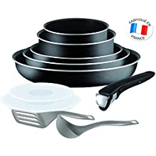 Tefal Ingenio Set of Frying Pans and Saucepans, Aluminium, black, 10 pièces (Not compatible for induction)