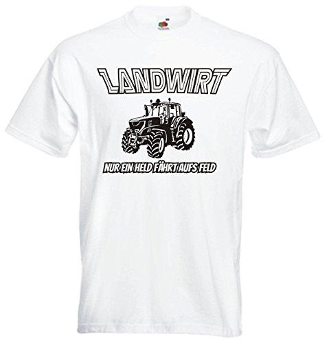 T-Shirt Herren - Nur ein Held fährt aufs Feld Landwirt Bauer Traktor Weiß