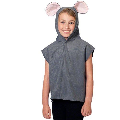 Unbekannt Charlie Crow Maus Kostüm für Kinder - Grau - Einheitsgröße 3-8 - Einfach Crow Kostüm