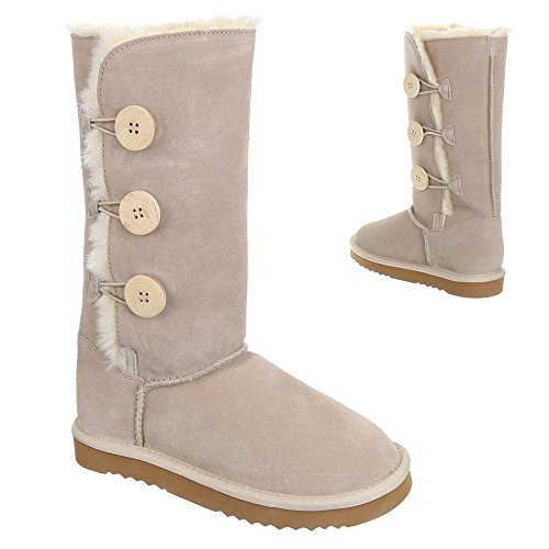 Ital-Design, wx5835, Boots chaud doublée Daim Beige - Beige