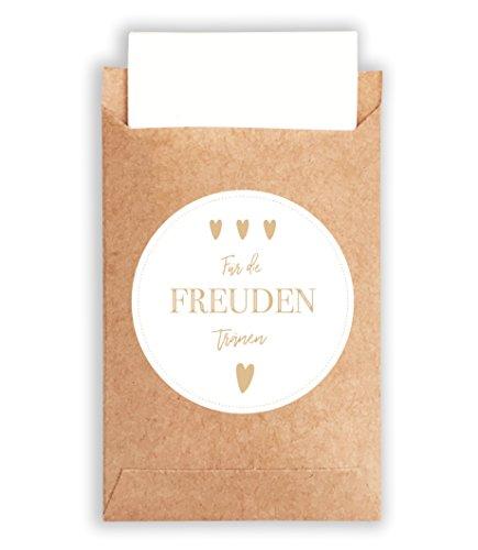 Freudentränen Sticker im Vintage-Stil für die Hochzeit | Aufkleber & Papiertüten aus schönem Naturpapier | wunderbare Flachbeutel für Taschentücher, Mitgebsel & Schmuck ()