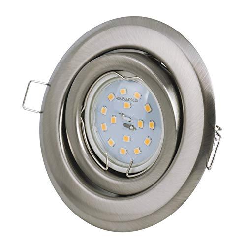 Set Einbaustrahler - schwenkbar - Farbe: Stahl gebürstet - LED 5Watt - 430Lumen - Warmweiss - GU10 230Volt Fassung inklusive -