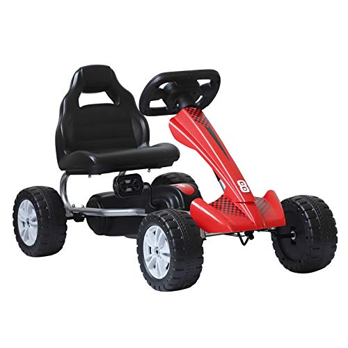 HOMCOM Coche de Pedales Go Kart Racing Deportivo con Asiento Ajustable para Niños 3-8 Años Carga 30kg Juguete Exterior 80x49x50cm Acero