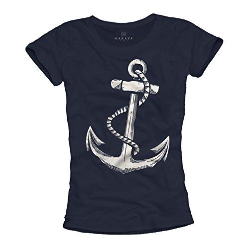 Ausgefallenes Damen T-Shirt mit ANKER Aufdruck - Farbe dunkelblau Größe L - Damen Anker