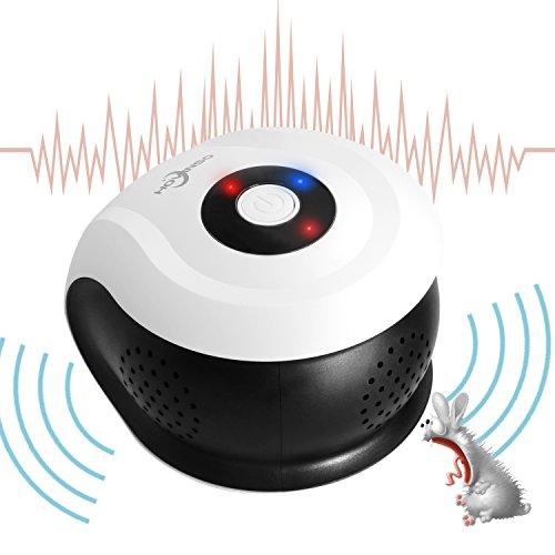 [HOVINSO®] Repelente de Plagas Repelente de Roedores Ultrasónico Presión Wave Chaser Cobertura de 360 ° 1 Onda Electromagnética 1 Onda Mecánica y 4 Ondas Ultrasónicas Sonido Envolvente 3D Mouse Ratas e Insectos Uso Interior