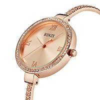 Ladies Glittered Sparkly Rhinestones Quartz Watch with Rose Gold Stainless Steel Strap (Rose Gold)