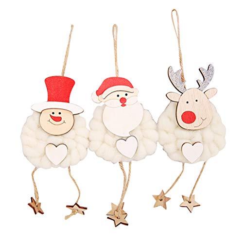 Bestoyard addobbi natalizi ganci di legno carino fai da te ornamenti di natale pupazzo di neve pupazzo di neve decorativo cartoon ciondolo bambola per casa fai da te mestieri 3 pezzi (bianco)