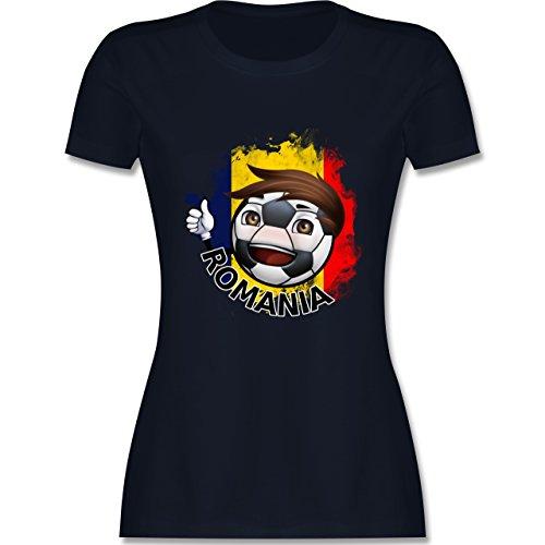 EM 2016 - Frankreich - Fußballjunge Rumänien - tailliertes Premium T-Shirt mit Rundhalsausschnitt für Damen Navy Blau