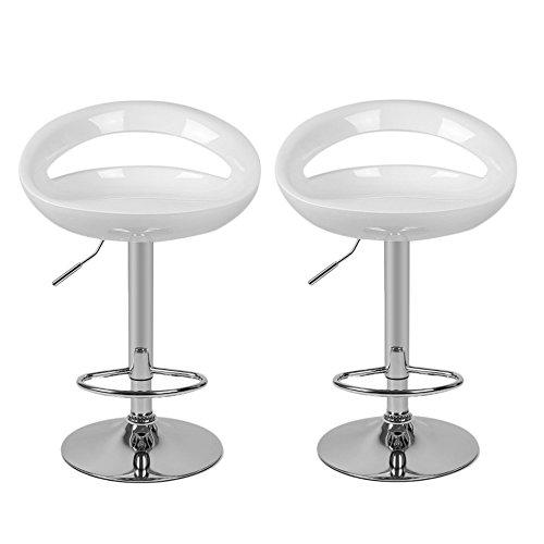 Homgrace 2 pezzi sgabelli bianchi regolabile da ufficio bar cucina, abs moderna sedia set di luna stile