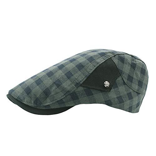 LLCP Plaid Beret In Baumwollwäsche, Atmungsaktiver Entenhut, Outdoor Casual Hut Visor, Flacher Hut Für Männer Und Frauen,C -