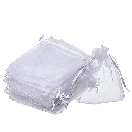 Organza Gift Bags White Wedding Party Favor Bags Jewelry Pouches Wrap (50 Pack, 4 x 4.72 Inches)