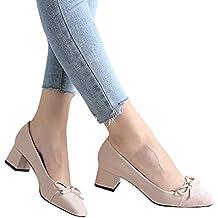 JUSTSELL_Schuhe für Damen,Frauen Mode-Design Gestreift PU Patchwork Einzelne Schuhe Bogenknoten Pumps Dicker Absatz Schuhe Temperament Schuhe