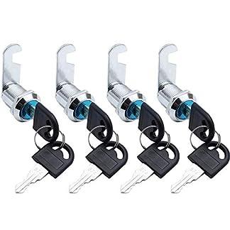 SPTwj – Cerradura para buzón de seguridad, 4 unidades, 25 mm/20 mm de longitud, aleación de zinc, para armario, buzón, cajón, color plateado (cada cerradura tiene las mismas llaves)