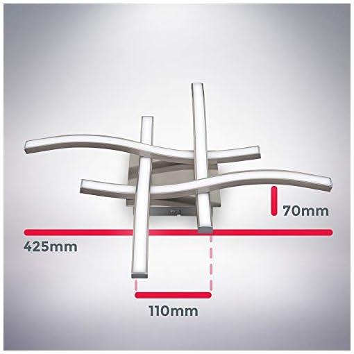 Plafoniera LED, luce bianca neutra 4000K, LED integrati 20W 2.000Lm, dimensione 42,5×42,5x7cm, lampada da soffitto moderna per salotto o cucina, lampadario in metallo color alluminio 230V IP20