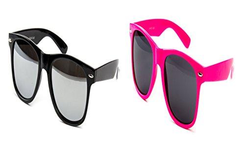 2 Brillen im Set Nerdbrille Nerd Brille Sonnenbrille Schwarz Verspiegelt Nerd Pink Set