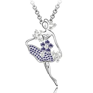 MARENJA Cristal-Sautoir/Collier Long Femmes Danseuse Ballet Magnifique en Robe Violet Cristal Autrichien Plaqué Or Blanc Bijoux Fantaisie 60-65cm