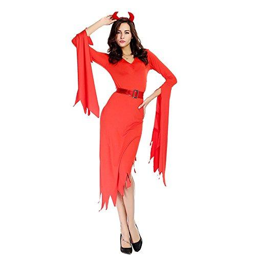 Hukangyu1231 Hexe Spiel Kleidung OU Code Code Halloween-Kostüm Big Red Devil Dress Damen Halloween Kostüm (Größe : L)