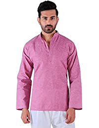 BDS Chikan Cotton Onion Pink Kurta for men's Lucknowi Chikan Work - BDS00910