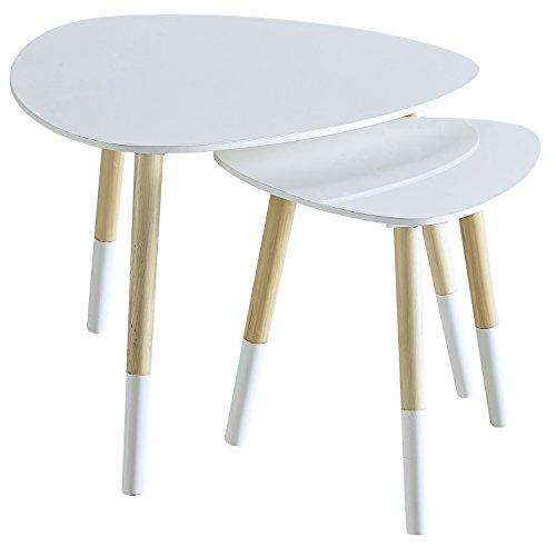 2er Set Wohnzimmertisch Couchtisch Beistelltisch | Platte aus MDF weiß | 60cm & 40cm | Tischbeine aus massiv Holz | 694