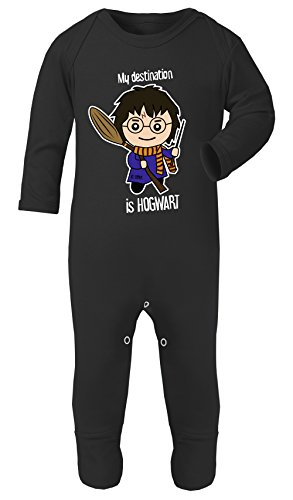 Harry Potter My Destination is Hogwart Superheld Lustig Kostüm Footies Baumwolle - Schwarz, 3-6 ()